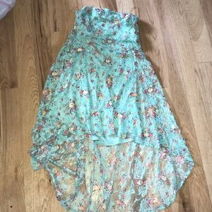 Mint green lace and colorful floral dress